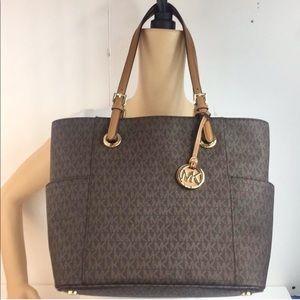 Michael Kors East West MK signature brown tote bag